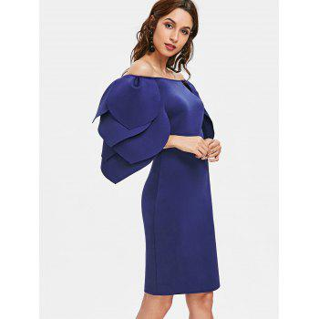 Petal Sleeve Fitted Occasion Dress - NAVY BLUE L