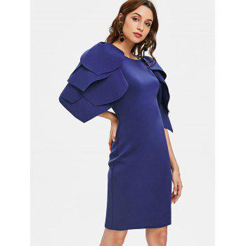 Petal Sleeve Fitted Occasion Dress - NAVY BLUE XL