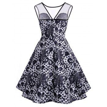 Lace Printed Sleeveless A Line Dress - MIDNIGHT BLUE 2XL