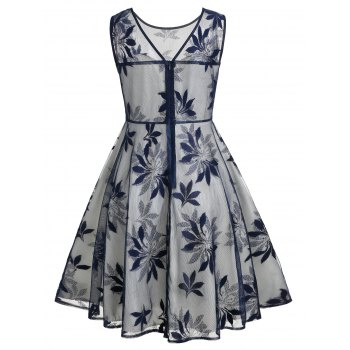 Leaf Pattern Sleeveless Retro Dress - DARK SLATE BLUE 2XL