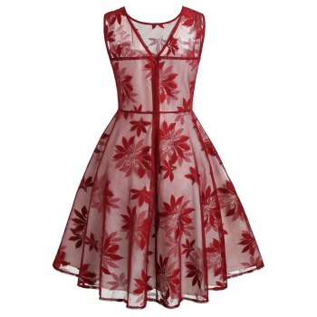 Leaf Pattern Sleeveless Retro Dress - RED WINE XL