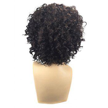 Oblique Bang Fluffy Short Kinky Curly Synthetic Wig - BLACK CAT