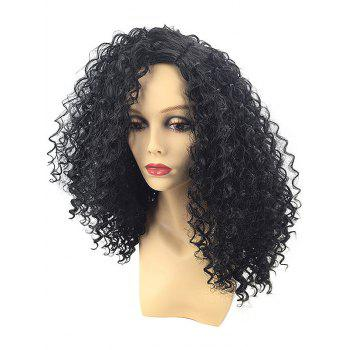 Side Parting Fluffy Long Curly Synthetic Wig - BLACK