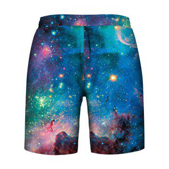 Star Cluster Printed Drawstring Hoodies Tank Top and Shorts - multicolor M