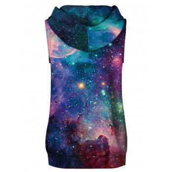 Star Cluster Printed Drawstring Hoodies Tank Top and Shorts - multicolor L