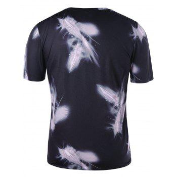 V Neck Printed Graphic Tee - BLACK L