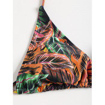 Three Piece Boho Leaves Print Bikini - ORANGE M
