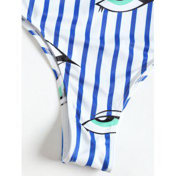 One Piece Stripe Eyes Pattern Swimwear - WHITE S