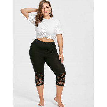 Lace Hem Plus Size Capri Skinny Pants - BRIGHT BLACK 5XL