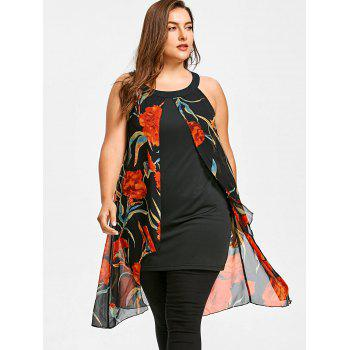 Plus Size Floral Printed Sleeveless Longline Blouse - BLACK L