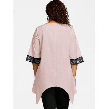 Plus Size Two Tone Sequined Embellished Blouse - LIGHT PINK 2XL