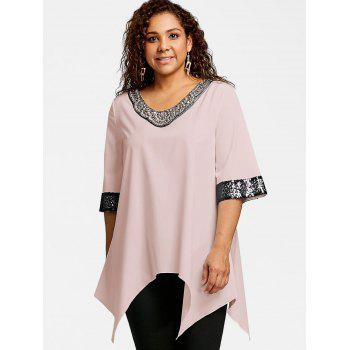 Plus Size Two Tone Sequined Embellished Blouse - LIGHT PINK 3XL