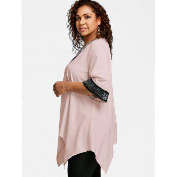 Plus Size Two Tone Sequined Embellished Blouse - LIGHT PINK 5XL