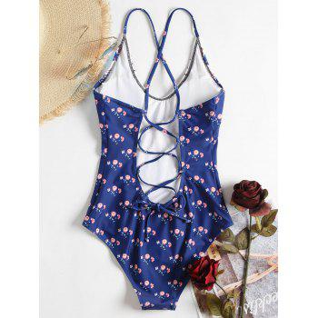 Floral Lace-up High Leg Swimsuit - DENIM DARK BLUE L