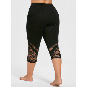Lace Hem Plus Size Capri Skinny Pants - BRIGHT BLACK 4XL