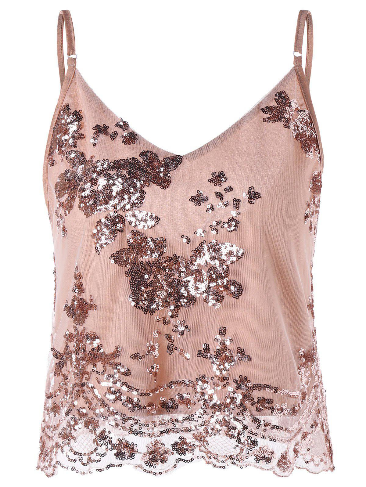 Glitter Cropped Slip Top cropped wide sleeve top