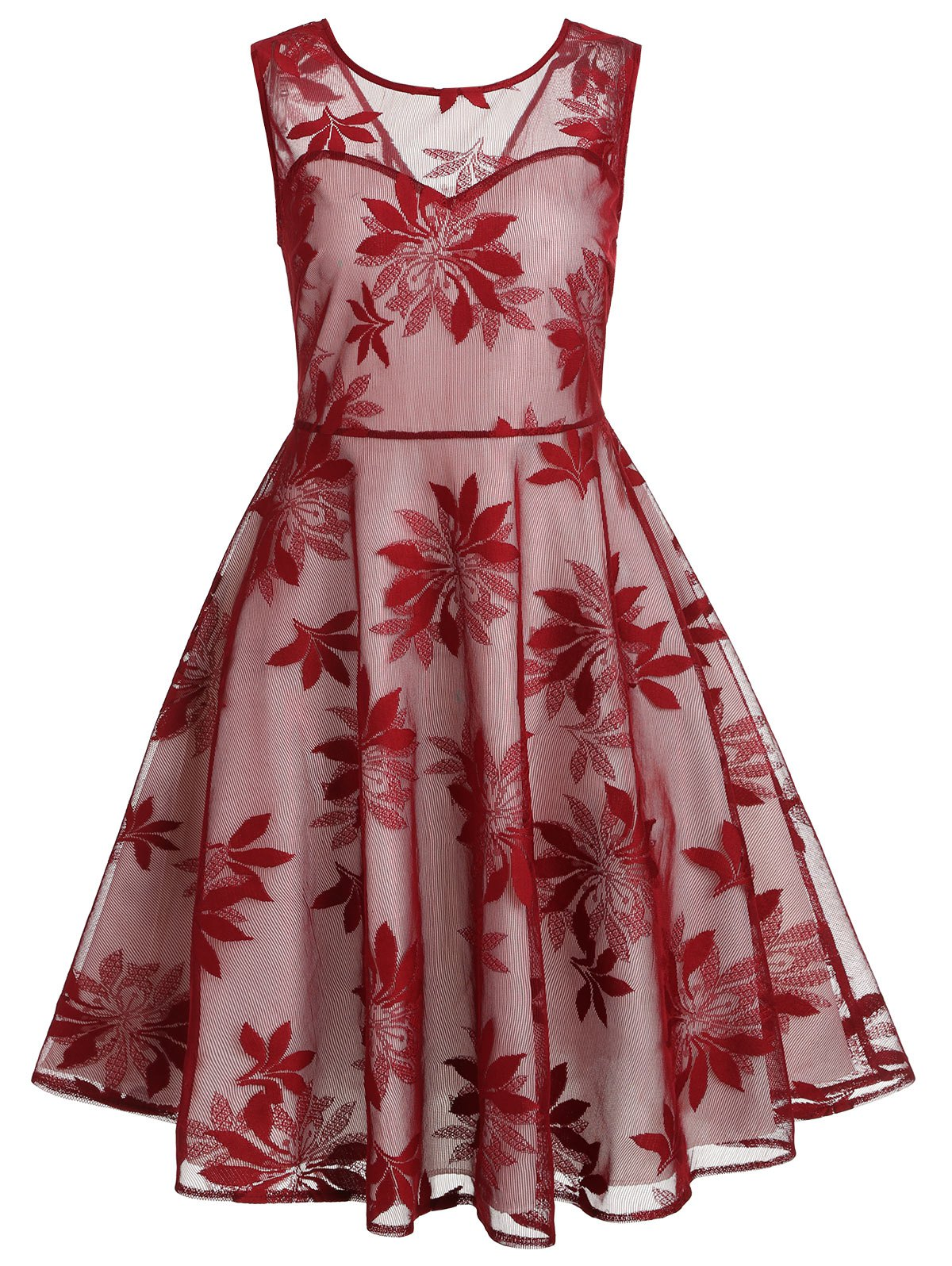 Leaf Pattern Sleeveless Retro Dress - RED WINE S