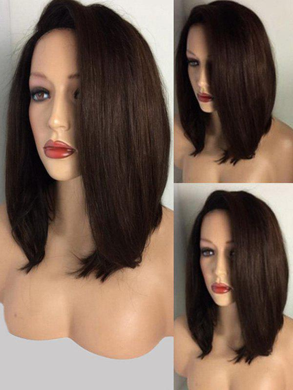 Deep Side Parting Straight Medium Bob Synthetic Wig - BROWN