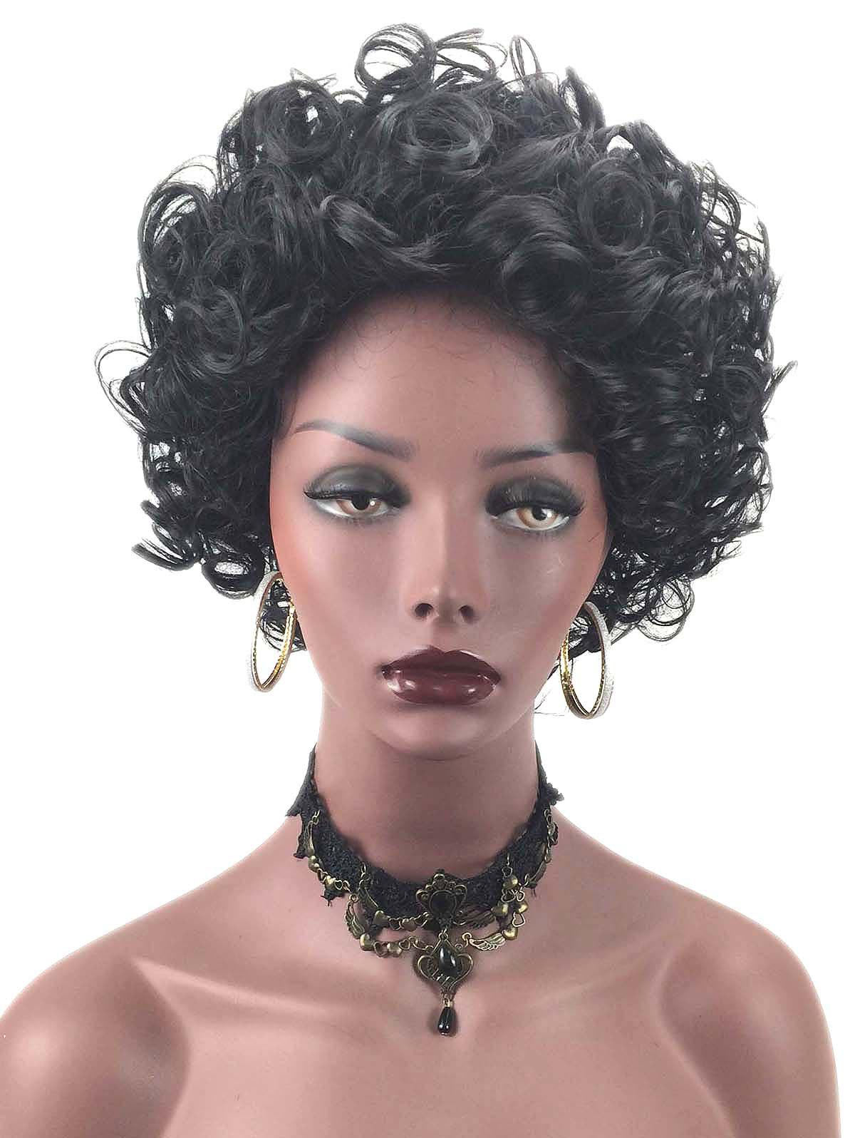 Short Inclined Bang Fluffy Curly Synthetic Fiber Wig - BLACK