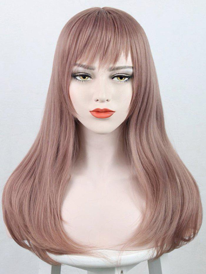 Long Full Bang Straight Party Lolita Synthetic Wig - KHAKI ROSE