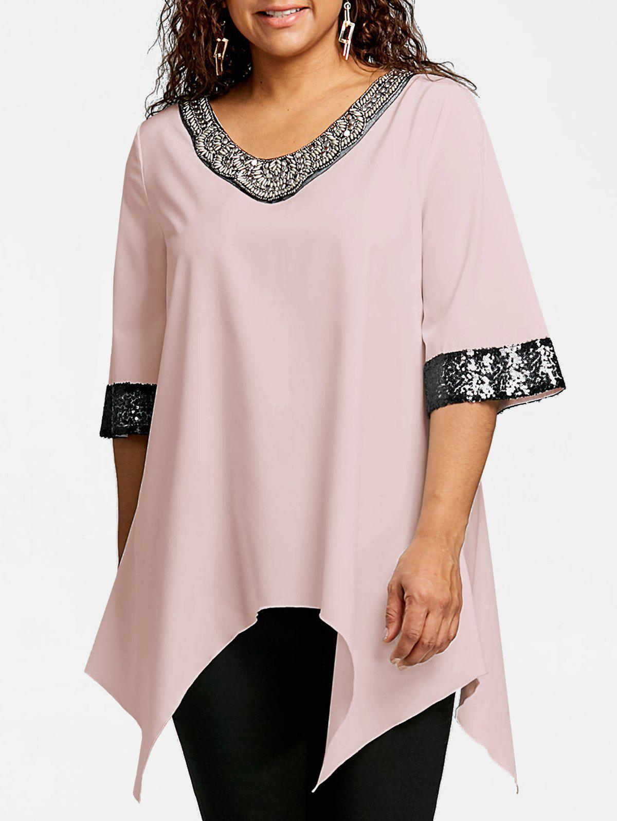 Plus Size Two Tone Sequined Embellished Blouse - LIGHT PINK 4XL