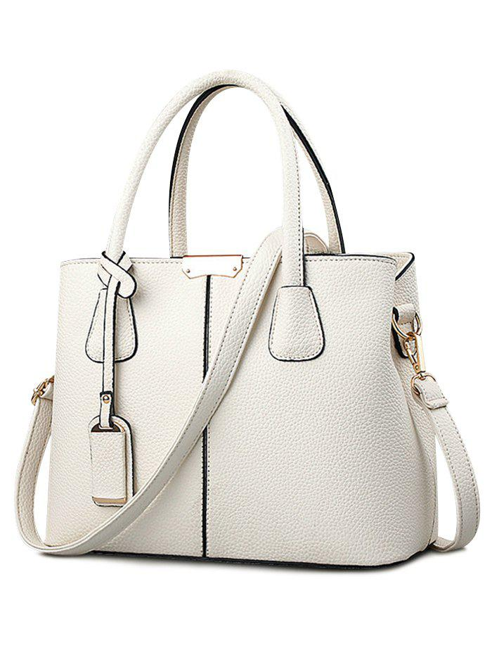 Shopping Leisure Handbag with Shoulder Strap - BEIGE