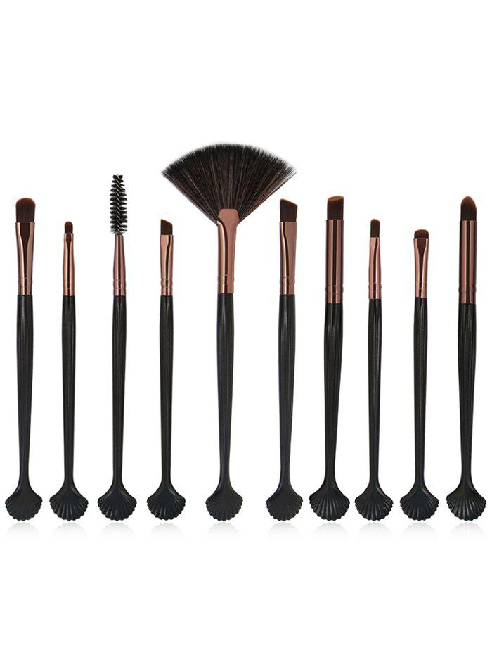 10Pcs Shell Shape Eyeshadow Eyebrow Blending Eye Makeup Brush Set - COFFEE