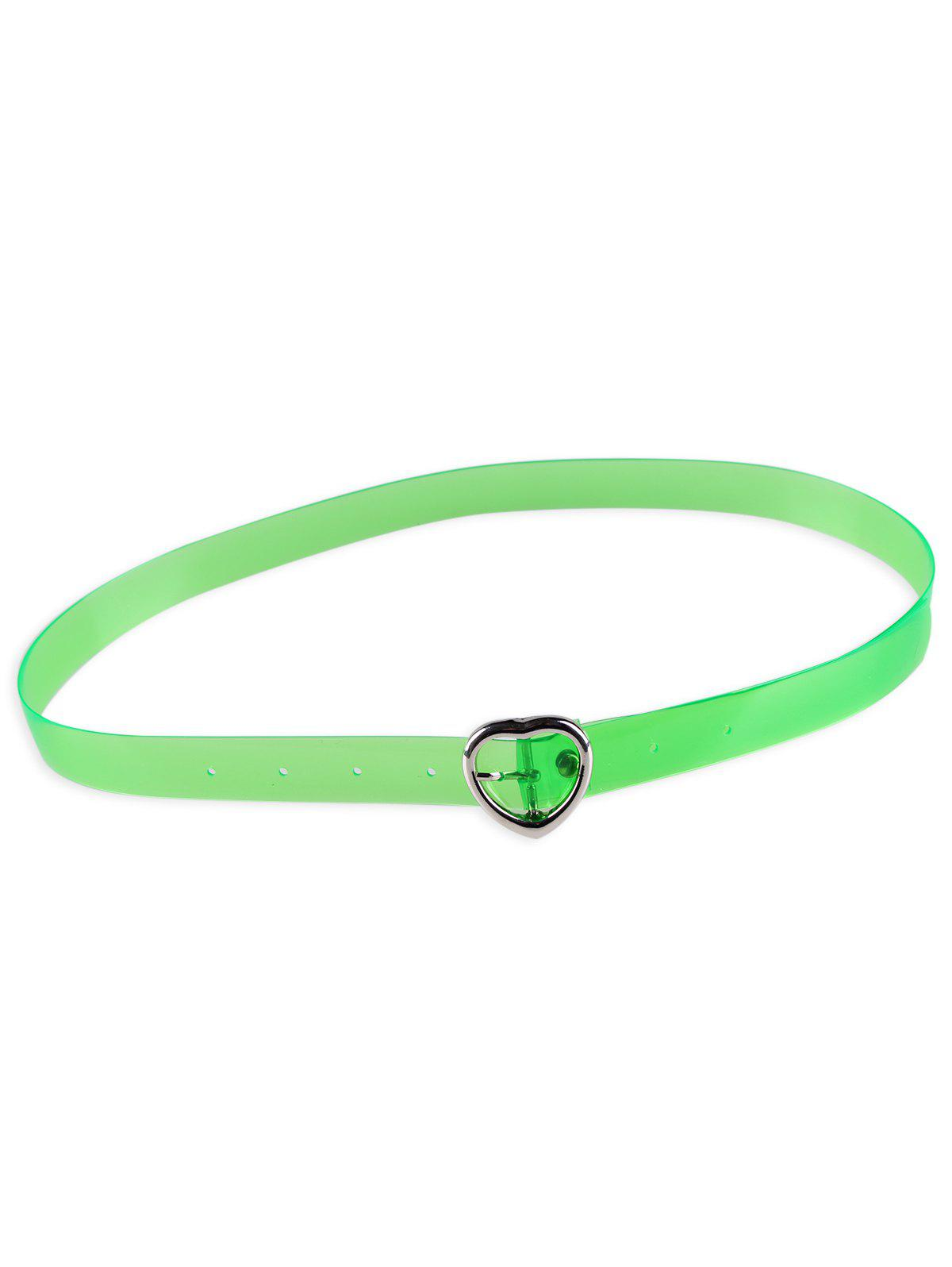 Statement Transparent Waist Belt with Metal Heart Buckle - GREEN