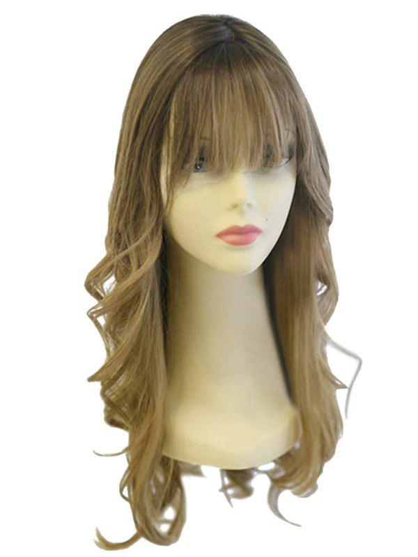 Long Neat Bang Colormix Wavy Party Synthetic Wig - multicolor