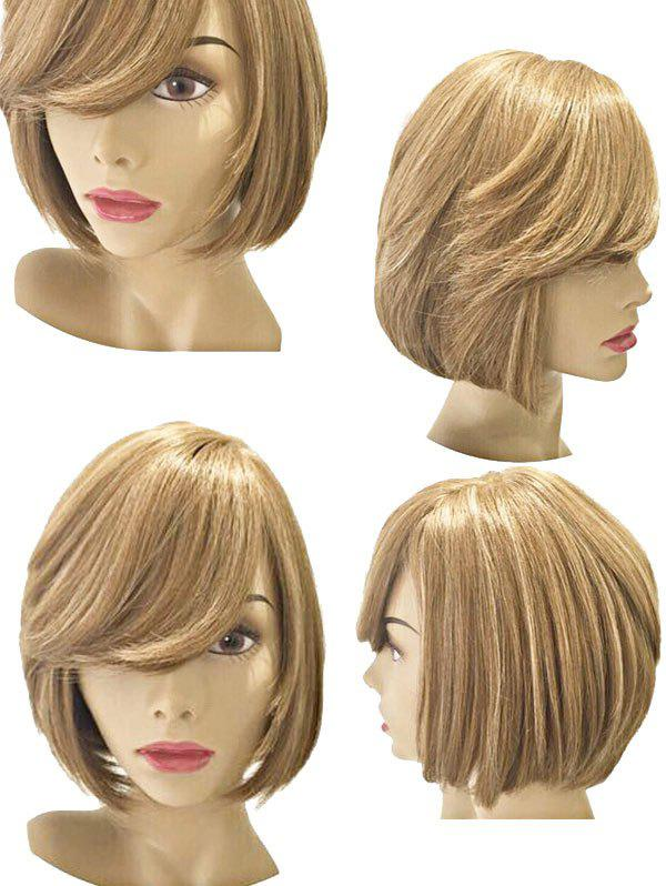 Short Inclined Bang Straight Bob Party Synthetic Wig - SCHOOL BUS YELLOW