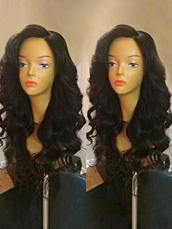 Long Side Part Loose Wave Synthetic Wig - BLACK