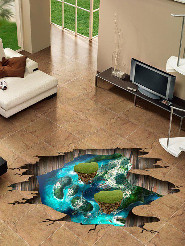 Hanging Island Print 3D Broken Floor Sticker - multicolor