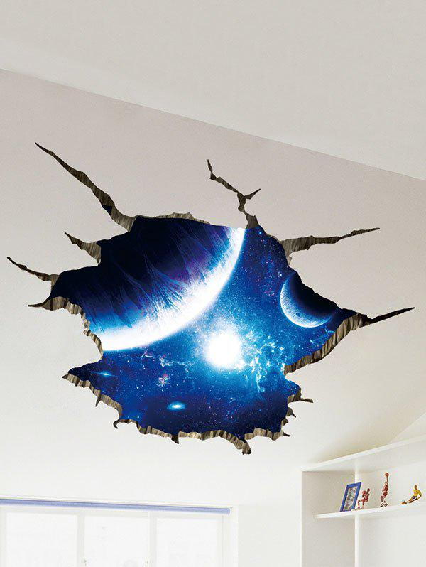 Galaxy planet print 3d broken floor sticker earth blue