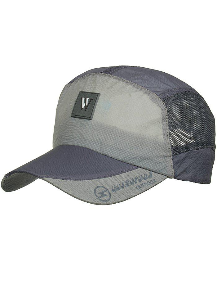 Outdoor Letter M Pattern Sunscreen Hat - ASH GRAY