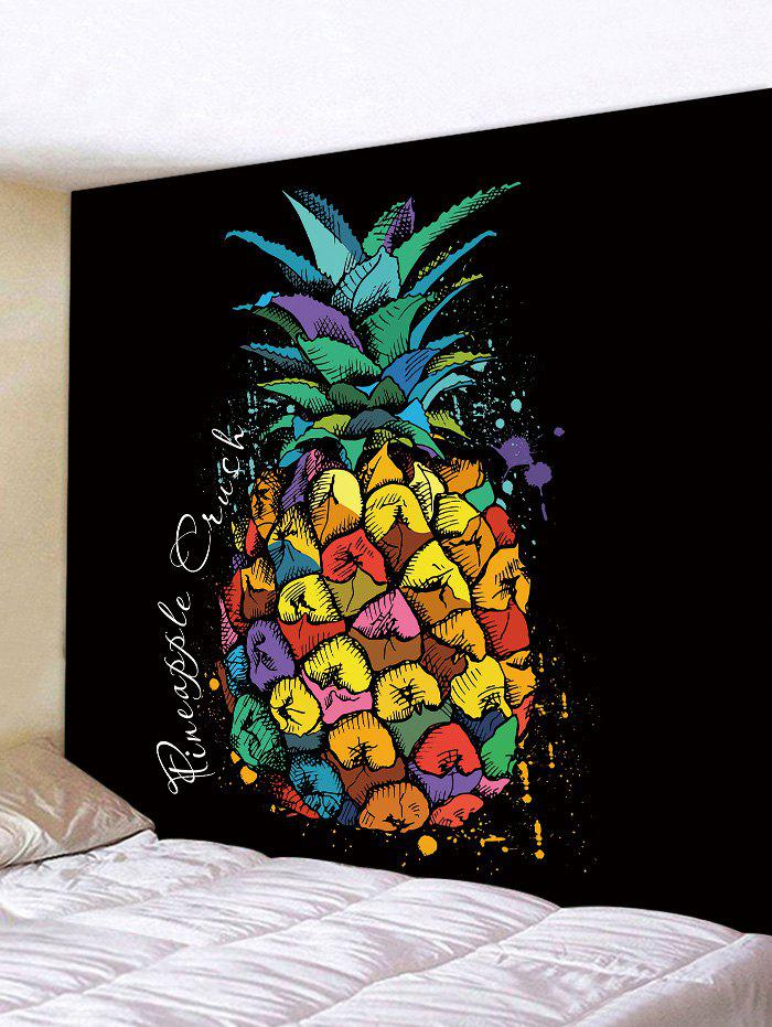 Colorful Pineapple Print Tapestry Wall Art pineapple overlay tapestry