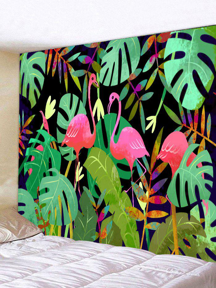 Tropical Flamingo Print Tapestry Wall Art tropical leaves print tapestry
