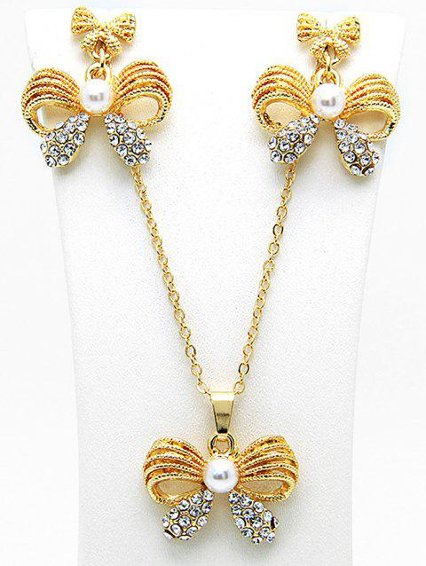 Faux Pearl Rhinestoned Bows Necklace and Earring Set - GOLD