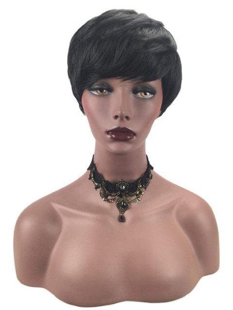 Inclined Bang Short Layered Straight Synthetic Wig - BLACK
