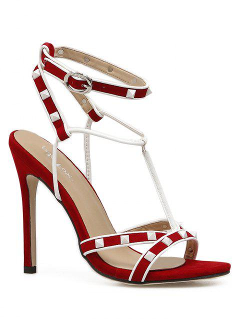Color Block High Heel Ankle Strap Sandals - LAVA RED 39