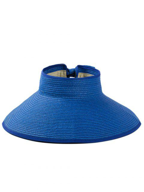 Solid Color Hollow Out Foldable Straw Hat - SAPPHIRE BLUE