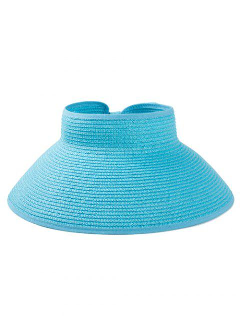 Solid Color Hollow Out Foldable Straw Hat - DEEP SKY BLUE