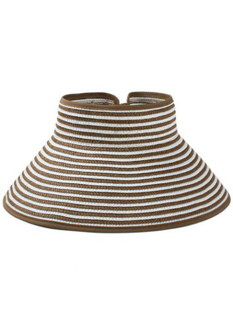 Striped Pattern Hollow Out Foldable Sun Hat - COFFEE
