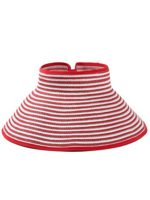 Striped Pattern Hollow Out Foldable Sun Hat - RED