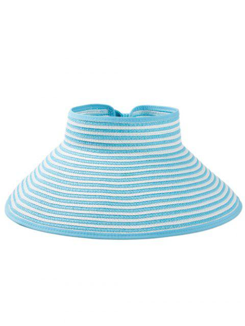 Striped Pattern Hollow Out Foldable Sun Hat - LIGHT BLUE