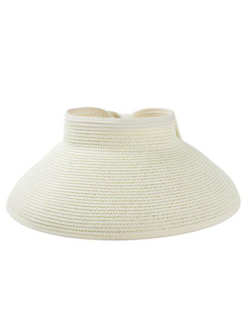 Solid Color Hollow Out Foldable Straw Hat - MILK WHITE