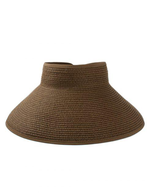 2019 Solid Color Hollow Out Foldable Straw Hat In COFFEE  958d6d3f24bc