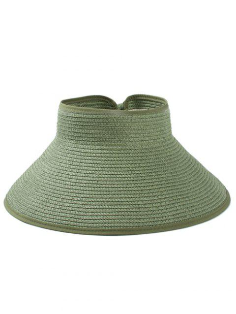 Solid Color Hollow Out Foldable Straw Hat - VENOM GREEN