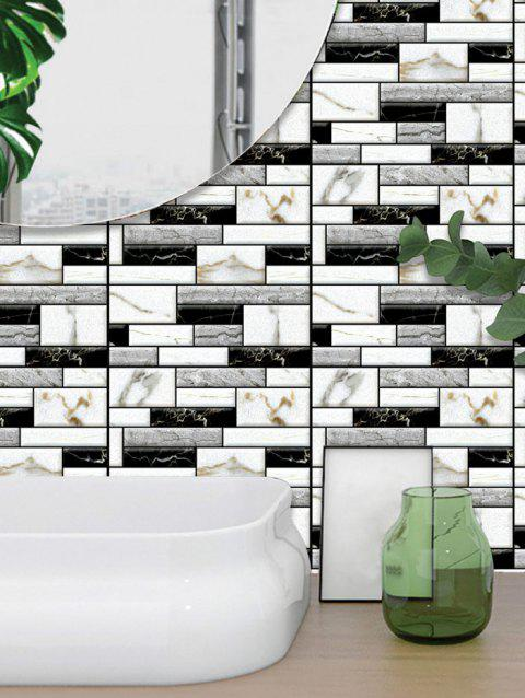 3D Faux Mable Brick Wall Art Sticker For Living Room - WHITE