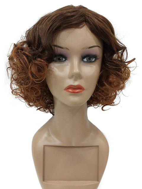 Short Inclined Bang Curly Synthetic Fiber Wig - multicolor