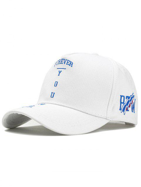 Letter Embroidery Breathable Sport Hat - WHITE